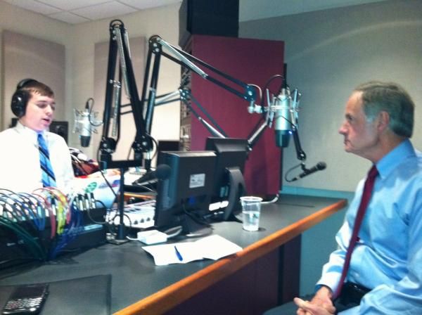 Pictured: Bill Humphrey interviewing U.S. Sen. Tom Carper of Delaware in the WVUD studios in early 2012.