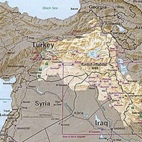 Map: Ethnically Kurdish zones of Turkey, Iraq, Syria, and Iran.