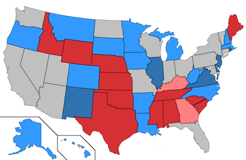 Competitive and non-competitive 2014 Senate races. (Credit: Orser67 - Wikipedia)