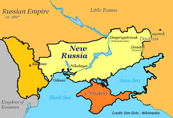 Novorossiya/New Russia in the Russian Empire in 1897. (Credit: Dim Grits - Wikimedia)