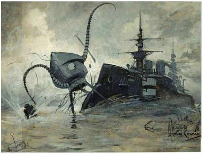 "Illustration: ""Martians vs. Thunder Child"" from a 1906 printing of ""The War of the Worlds"" by H.G. Wells."