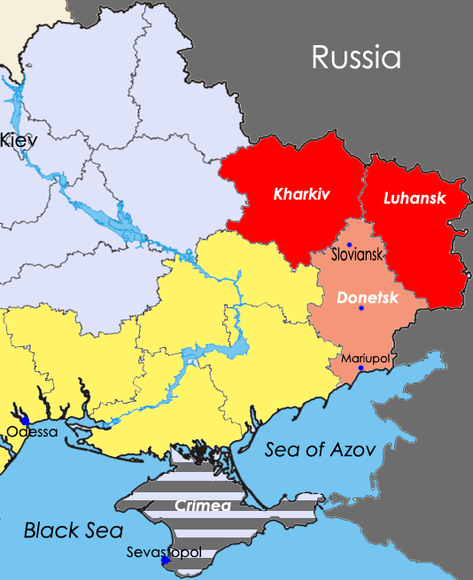 Eastern Ukraine highlighting Donetsk Oblast. Adapted from Arsenal For Democracy's complete 2014 Ukraine crisis map.