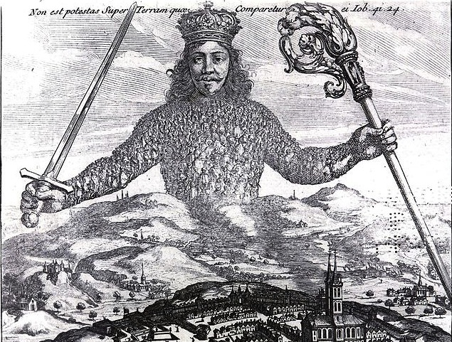 "1651 Frontispiece of Thomas Hobbes' ""Leviathan"" on the English Civil War and the proper form of government."