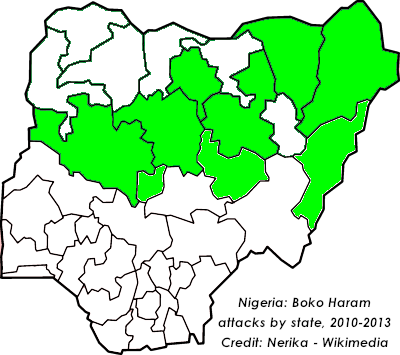 Map of Nigerian states attacked by Boko Haram from 2010-2013. An ongoing state of emergency exists across three northern states. (Credit: Nerika - Wikimedia)