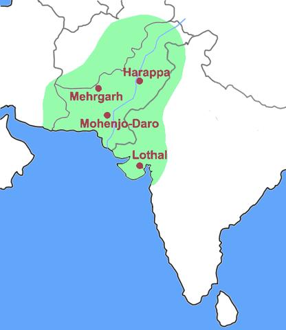 Harappan civilization map. (Credit: MM - Wikimedia)