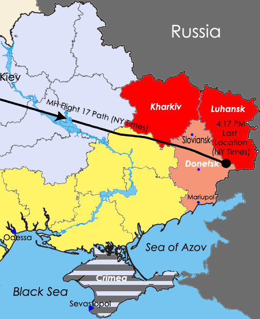 Eastern Ukraine highlighting Donetsk Oblast and separatist regions. Adapted from Arsenal For Democracy's complete 2014 Ukraine crisis map, with MH17 flight geography information from the New York Times.