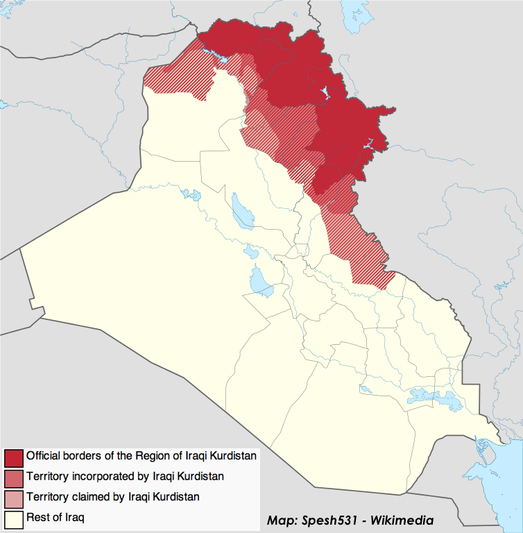 "A map of greater Iraqi Kurdistan including Kurdish Regional Government territory, some militia-held territories captured in the war against ISIS, and territories historically Kurdish before ""Arabization"" policies."