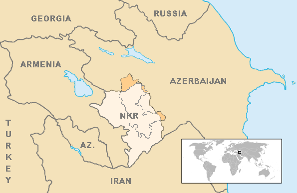 Nagorno-Karabakh region within Azerbaijan after the 1994 ceasefire. (Credit: Wikimedia)
