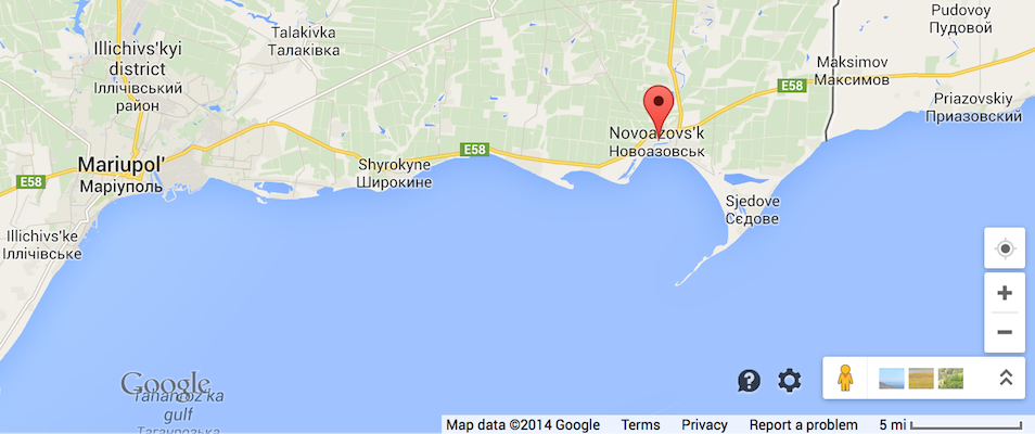 Donetsk Oblast: Novoazovsk and Mariupol on the Sea of Azov near the Russian border.