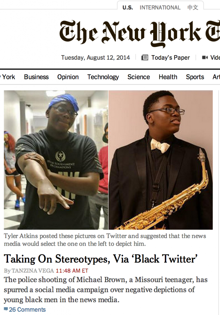 Screenshot from U.S. Edition of NYTimes.com home page at 1:15 PM ET on August 12, 2014
