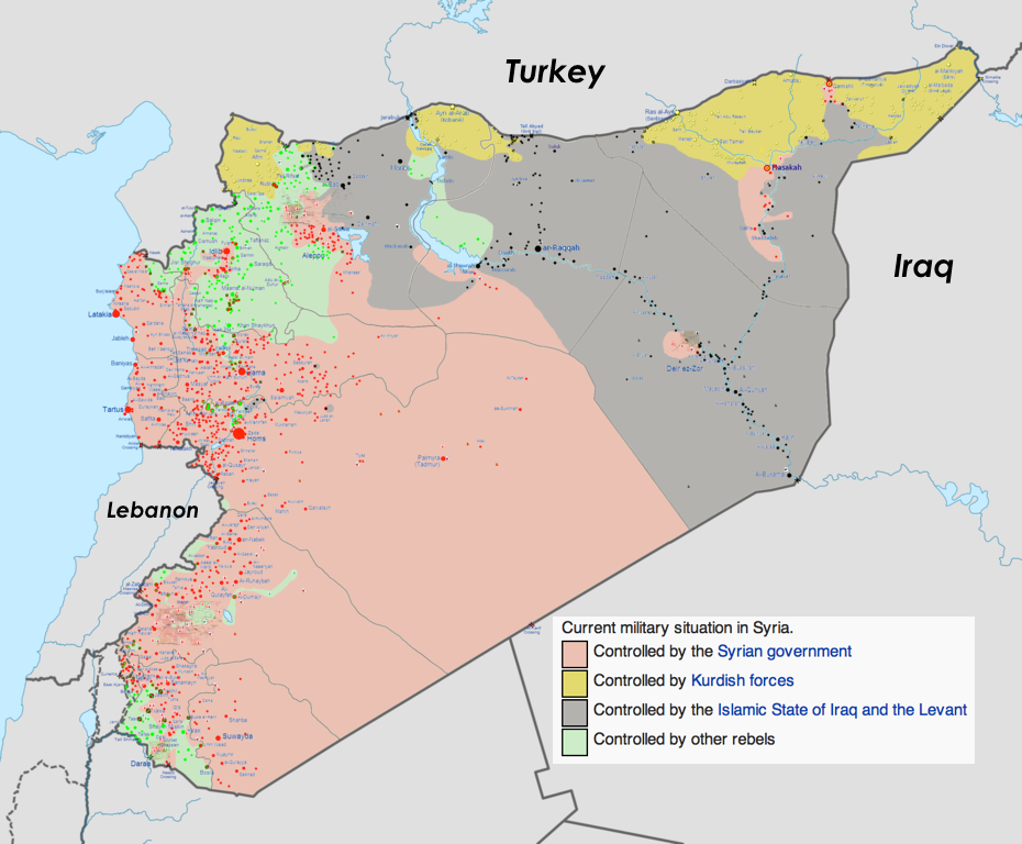 Map of the Syrian Civil War as of August 16, 2014 (Wikimedia)
