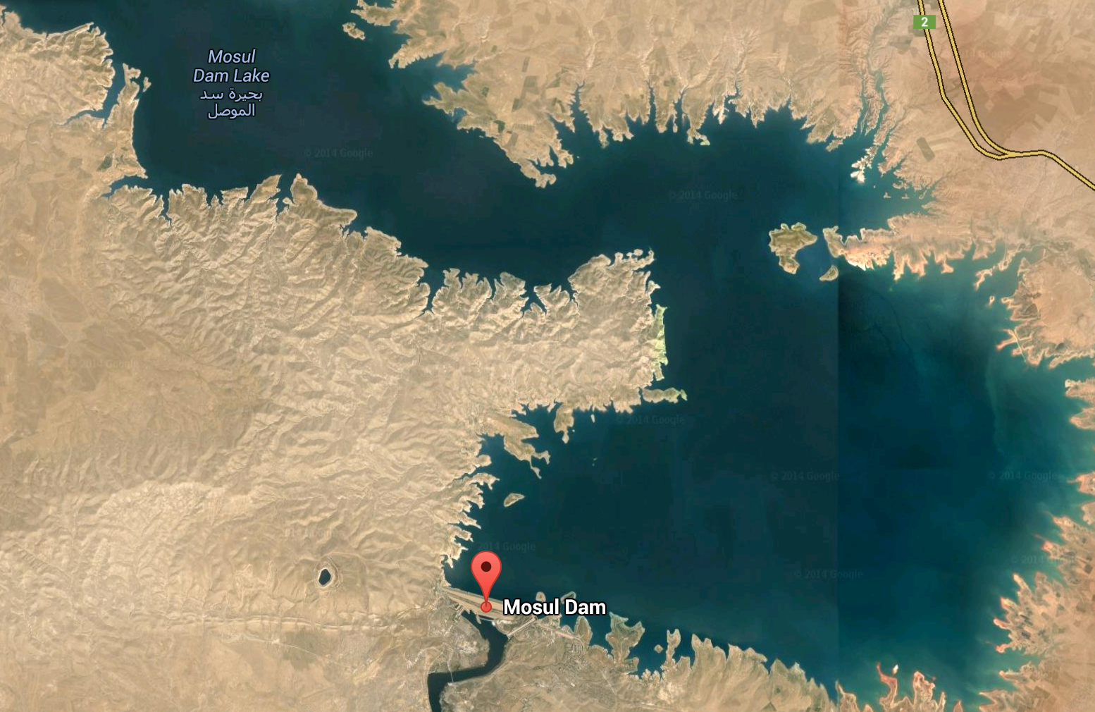 Google Map of Mosul Dam and reservoir north of the city of Mosul.