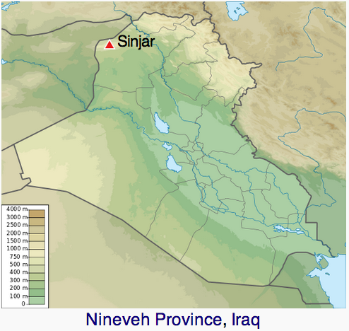 Location of Mount Sinjar in northern Iraq. (Credit: Urutseg on Wikimedia)