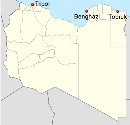 Map of three coastal cities in Libya. Adapted from Wikimedia.