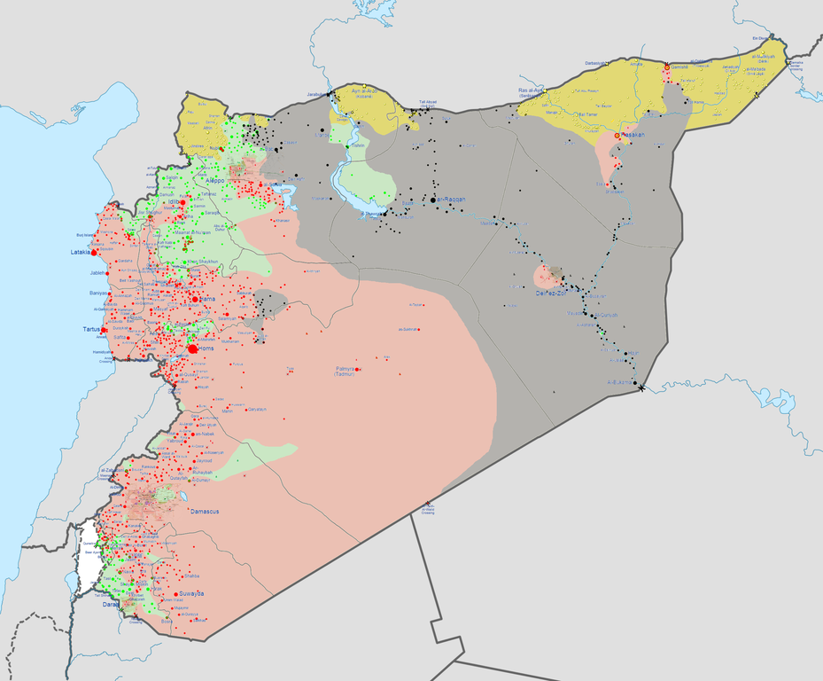 Map of the Syrian Civil War as of September 13, 2014. Red = Regime, Gray = ISIS, Green = FSA, Yellow = Kurdish. (via Wikimedia)