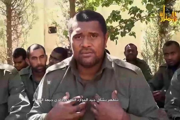 Still image from a Nusra Front video of Fijian peacekeeper hostages shortly before their release.