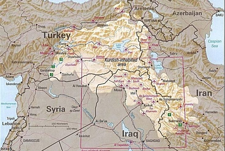 Map: Ethnically Kurdish zones of Turkey, Iraq, Syria, and Iran -- circa 1992. (Credit: CIA)