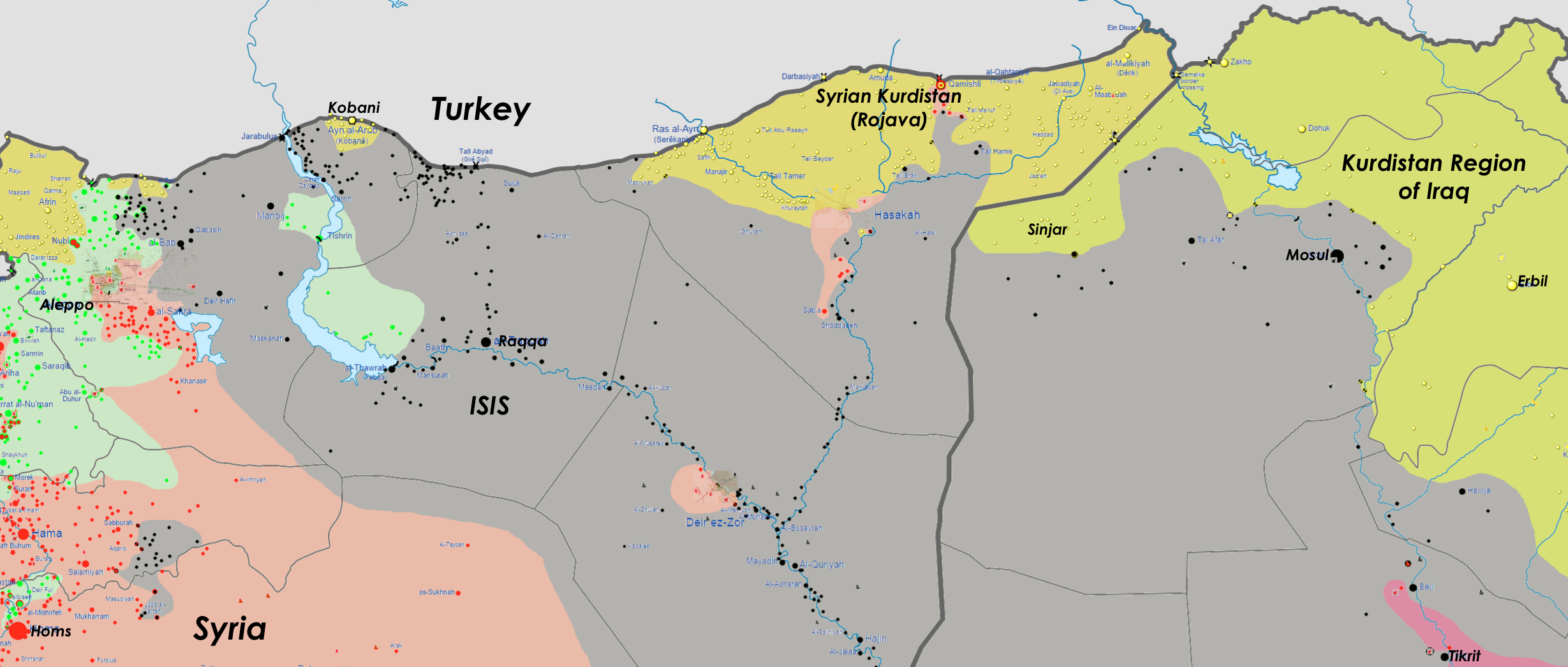 Click to enlarge: Detailed conflict map of Northern Syria and Northern Iraq, September 26, 2014, including Kobani / Ayn al-Arab. (Adapted from Wikimedia)
