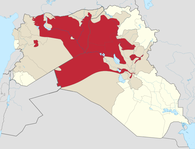 Theoretical maximum sphere of ISIS control as of early September 2014, via Wikimedia. Keep in mind that control is tenuous in outlying desert village areas and limited to major thoroughfares/cities in many areas. There is debate over how to map this reality more accurately.