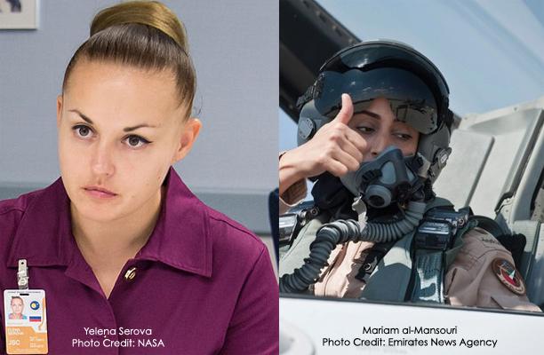 Cosmonaut Yelena Serova (via NASA/Wikimedia) and Maj. Mariam al-Mansouri (via WAM/The National)