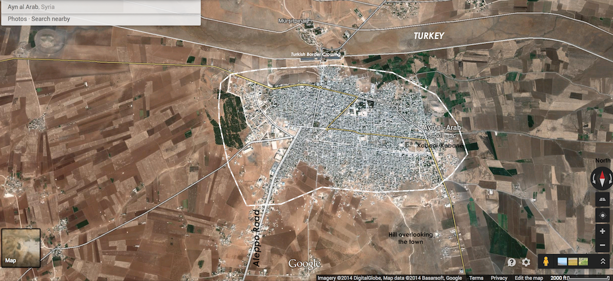 Labeled overhead map of Kobani / Ayn Al-Arab, Syria, October 5, 2014. Click map to see a topographical rendering of the hill or click here to navigate in Google Maps.