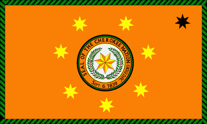 Flag of the Cherokee Nation. (Credit: Hosmich - Wikimedia)