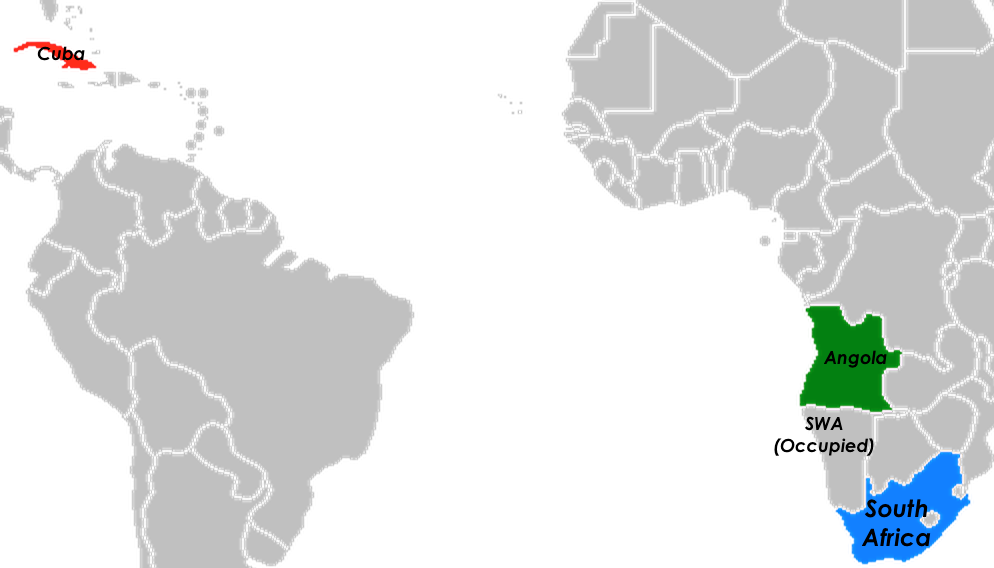 Map of Cuba, Angola, South Africa, and South African-occupied South West Africa. Adapted from Egs - Wikimedia