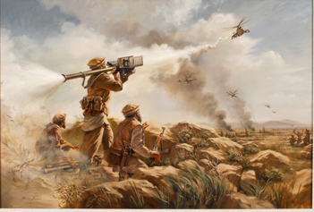 """First Sting"" by Stuart Brown, CIA Museum, an artist's depiction of Afghan mujahideen rebels shooting down a Soviet aircraft with CIA-supplied Stinger missiles."