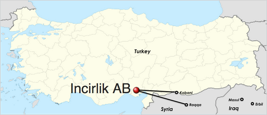 Map of Turkey's Incirlik Air Base relative to Kobani, Raqqa, Mosul, and Erbil. (Adapted from Wikimedia)
