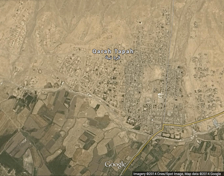 Cnes/Spot Image satellite photo of Karatepe (Qarah Tapah) township in Diyala Governorate.