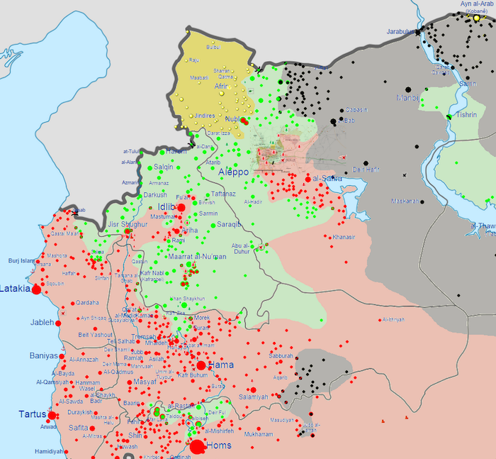 A map of government territory in northwestern Syria as of October 7, 2014. (Red = government, gray = ISIS, yellow = Syrian Kurds, green = other rebels.) Map via Wikimedia