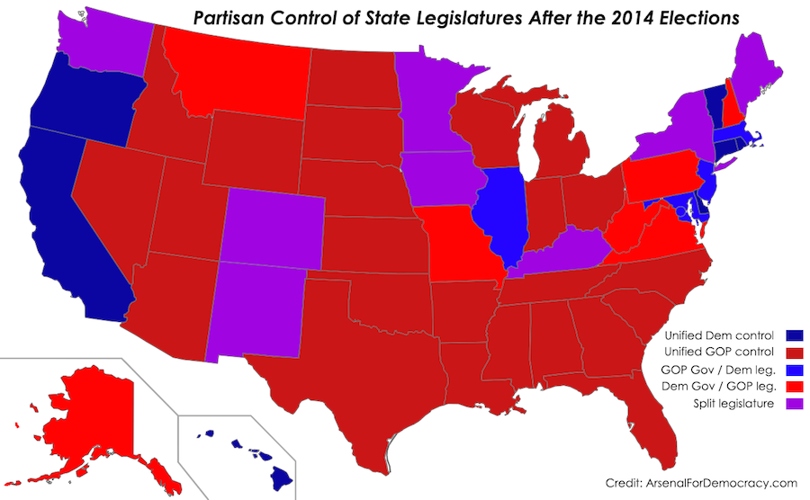 Map of 2014 United States state legislature election results, comparing partisan control of the legislative chambers and governor's office in each state. (Credit: ArsenalForDemocracy.com) Note: Alaska's governor is an independent.