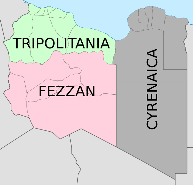 Map of the three pre-1963 Libyan provinces approximated over a map of present-day subdivisions. (Credit: Spesh531 - Wikimedia)