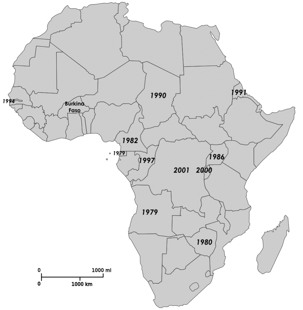 A partial map of the years that Sub-Saharan African strongmen took office, in relation to Blaise Compaoré's 1987 coup in Burkina Faso. (Map labels by Arsenal For Democracy.)