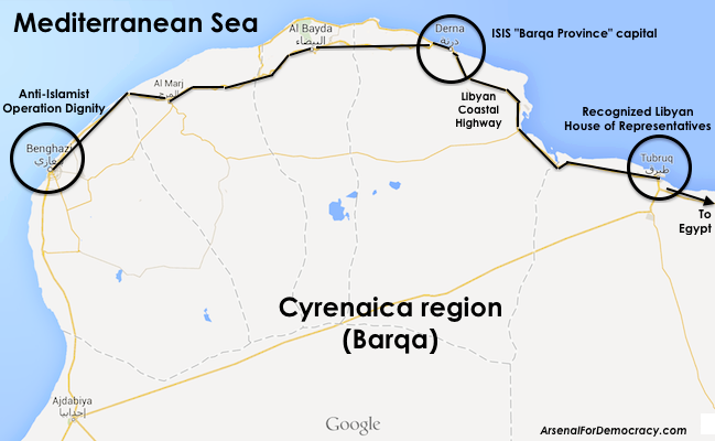 Road map showing ISIS-Libya positions (in Derna) relative to Tobruk and Benghazi within the greater Cyrenaica (Barqa) region of eastern Libya.