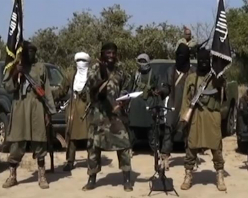 Still image (via AFP) from the Boko Haram video communiqué received October 31, 2014.