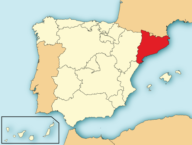 Map of Catalonia region within Spain. (Credit: Wikimedia)