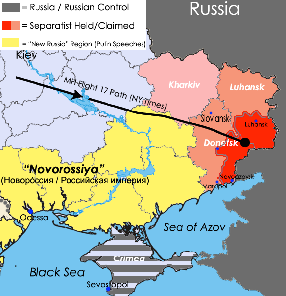November 12, 2014 map of the Eastern Ukraine conflict and related areas. Produced by Arsenal For Democracy from various data sources (more info) and the National Security and Defense Council of Ukraine.