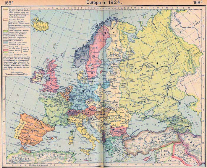 Map of Europe in 1924 after the wars and treaties that followed World War I, from William Shepherd's Historical Atlas (1923-26). (Via Emerson Kent and UT Austin)
