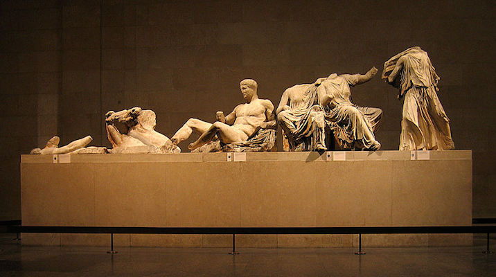 Surviving figures from the East Pediment of the Parthenon, exhibited as part of the Elgin Marbles in the British Museum. (Credit: Andrew Dunn)