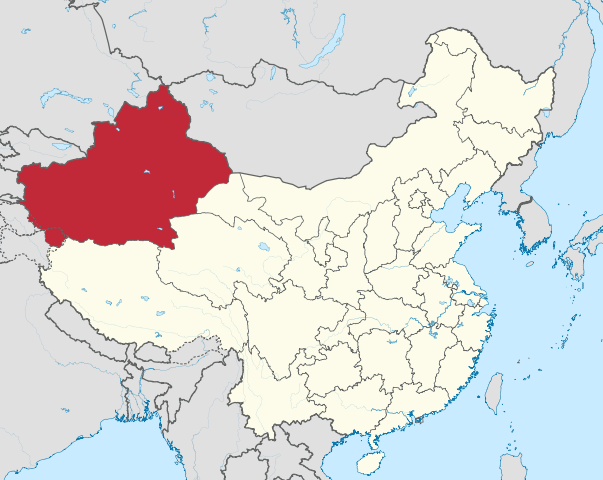 Map of the de facto territory of the Xinjiang Autonomous Region in China. (Credit: TUBS - Wikimedia)
