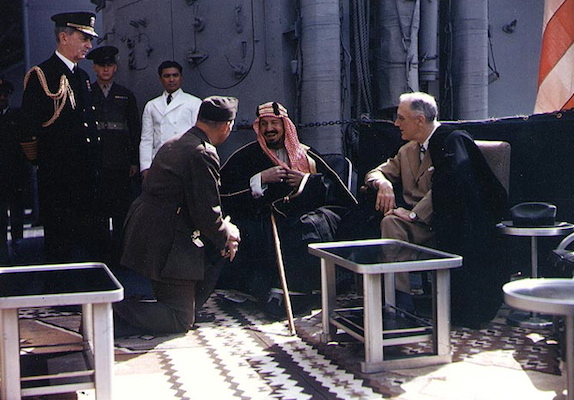 Pictured: FDR meeting with King Ibn Saud, of Saudi Arabia, on board USS Quincy in Egypt, on 14 February 1945.