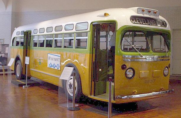 Pictured: The Montgomery bus on which Rosa Parks was arrested at the start of the boycott. Now in the Henry Ford Museum. (via Wikimedia)
