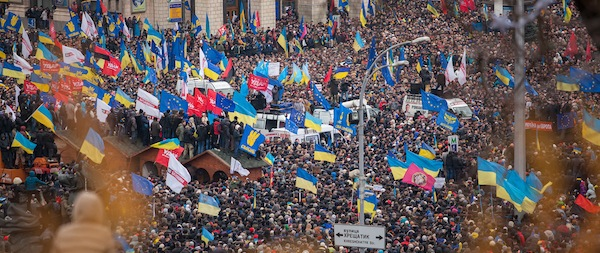 Euromaidan anti-government protests in Kiev, December 2013. (Credit: Nessa Gnatoush - Wikimedia)
