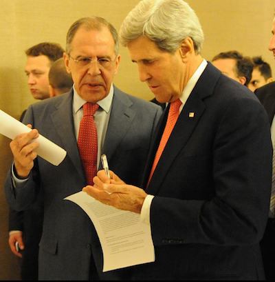 Pictured: US Secretary of State John Kerry and Russian Foreign Minister Sergey Lavrov meeting in Geneva in November 2013 to discuss the Iranian nuclear deal. (Credit: US State Dept.)