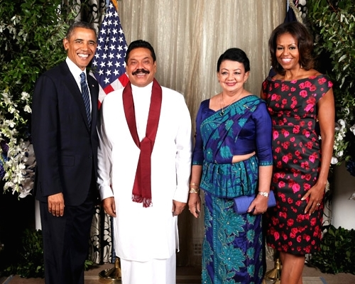 President and Mrs. Obama in an official photo with President and Mrs. Rajapaksa at the September 2013 UN General Assembly in New York. (White House Photo)