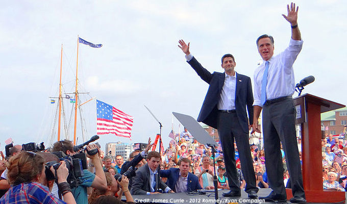 Pictured: Rep. Paul Ryan and former Gov. Mitt Romney announcing their Republican ticket in August 2012.