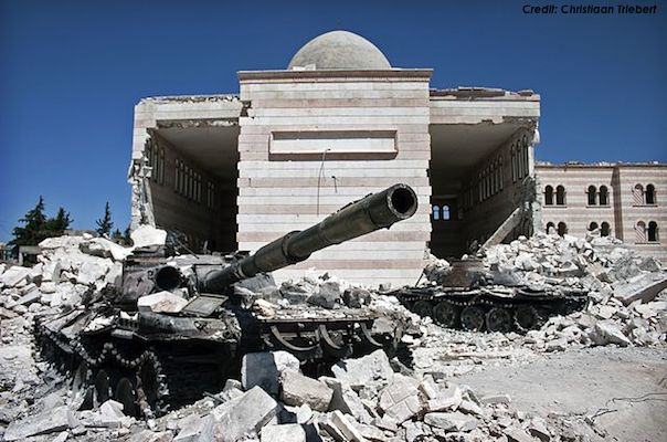 Pictured: Destroyed Syrian Army tanks, August 2012, after the Battle of Azaz. (Credit: Christiaan Triebert via Wikipedia)