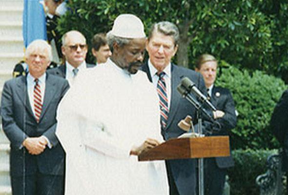 Pictured: Chadian President Hissène Habré and U.S. President Ronald Reagan in 1987. (Ronald Reagan Library)
