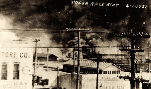 Postcard in the collection of McFarlin Library, University of Tulsa, showing the fires the day after the destruction of Black Wall Street. (via Wikimedia)